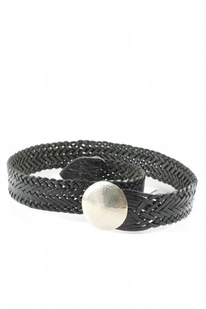 Cinturón trenzado negro-color plata look efecto mojado