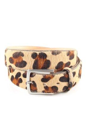 Buckles & Belts Ceinture en cuir brun-blanc cassé motif animal