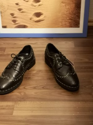 Asos Wingtip Shoes black-silver-colored leather