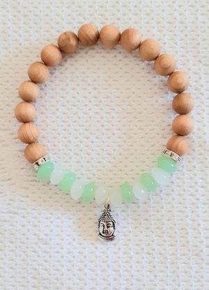Buddha Armband, Mondstein, Prehnit