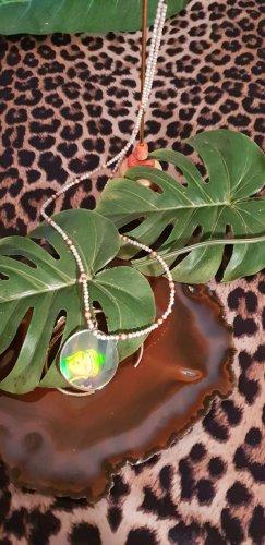 Collier de perles orange fluo-blanc cassé