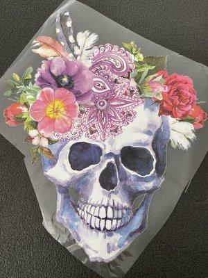Bügelbild Applikation totenkopf boho hippie diy bohemian Blumen