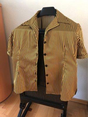Glanzende blouse goud Oranje-zwart