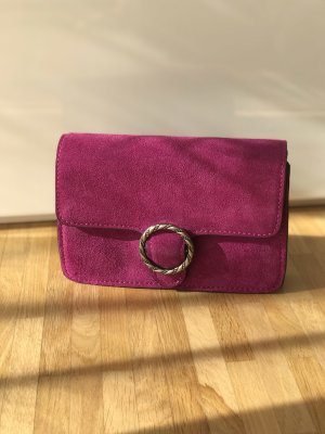 Bügeltasche/Clutch in violett in Velours Optik