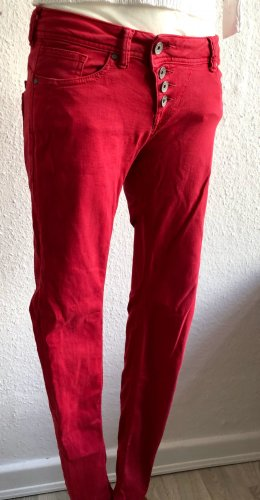 Buena Vista Low-Rise Trousers neon red cotton