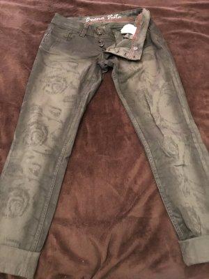 Buena Vista Pantalon chinos argenté-noir coton