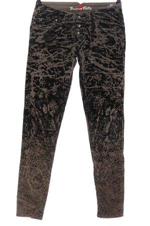 Buena Vista Röhrenhose schwarz-braun abstraktes Muster Casual-Look