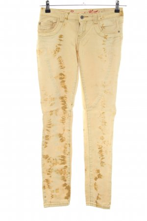 Buena Vista Skinny Jeans creme abstraktes Muster Casual-Look