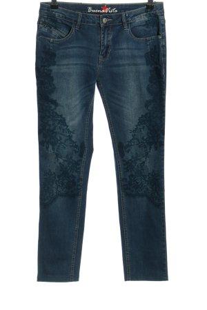 Buena Vista Slim Jeans blau Blumenmuster Casual-Look