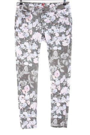 Buena Vista Stretch broek lichtgrijs-roze volledige print casual uitstraling