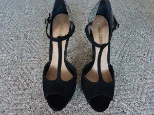 Buffalo T-Strap Sandals black-silver-colored