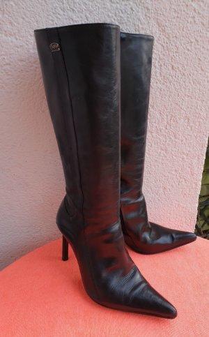 Buffalo Absatz schwarzes Leder Stiefel