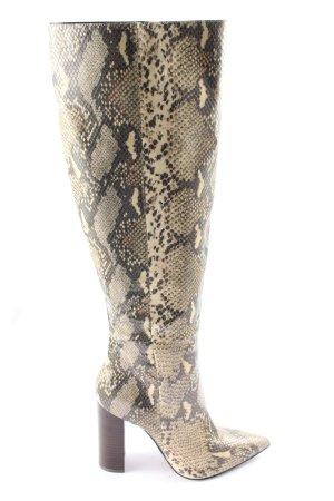 Buffalo Absatz Stiefel creme-schwarz Allover-Druck Elegant