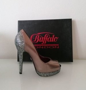 Buffalo London Peep Toe Pumps brons Leer