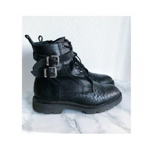 Buffalo Biker Boots Schnürstiefelette Farla Stiefelette Stiefel Leder Lederboots Echtleder Größe 39