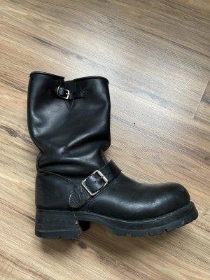 Buffalo Biker Boots schwarzes Leder