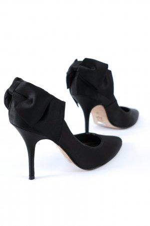 BUFFALO Boudoir Satin Pumps High Heels + Schleife black