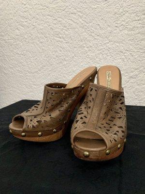 Buffalo Heel Pantolettes light brown leather