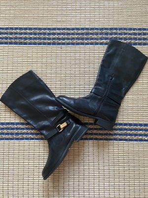 Buffalo Echtleder hohe Stiefel mit weitem Schaft und Goldschnalle