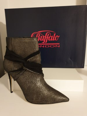 Buffalo Zipper Booties black-silver-colored