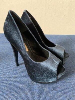 Buffalo High Heels in Samt/Blau