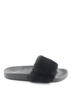 Buffalo Komfort-Sandalen schwarz Fellbesatz