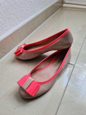 Buffalo Lack Ballerinas flache Schuhe in beige neon pink Gr. 38