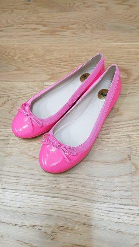 Buffalo Bailarinas de charol con tacón rosa neón