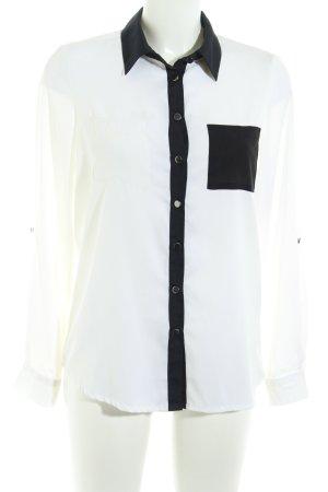 Buffalo Langarm-Bluse wollweiß-schwarz schlichter Stil