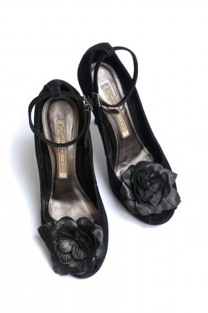 BUFFALO Leder Pumps High Heels Flower Peep Toe Stiletto black – 36