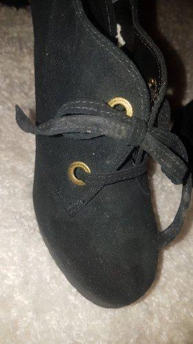 Buffalo London Patucos con plataforma negro-marrón arena Gamuza