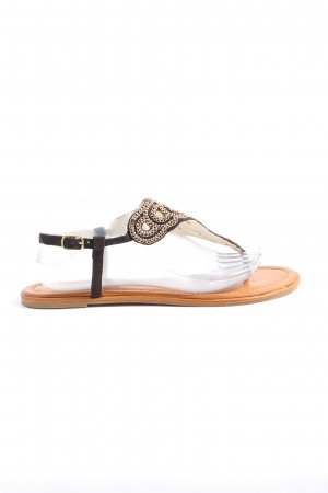 Buffalo London Toe-Post sandals black-gold-colored abstract pattern casual look