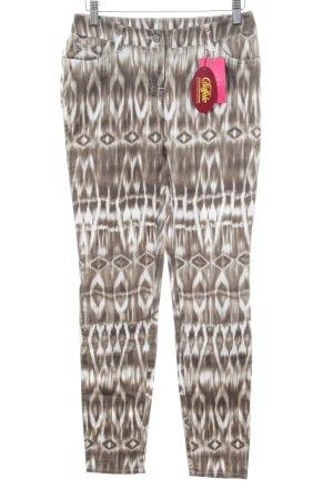 Buffalo London Five-Pocket-Hose bronzefarben-weiß abstraktes Muster Casual-Look
