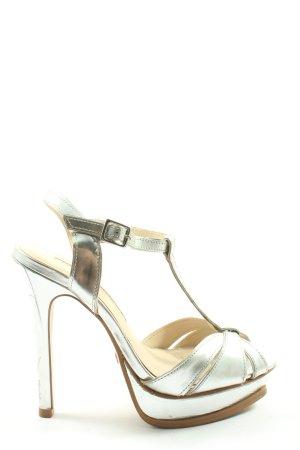 Buffalo London Hoge hakken sandalen zilver wetlook