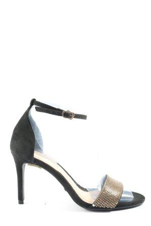 Buffalo London High Heel Sandaletten schwarz-goldfarben Glanz-Optik
