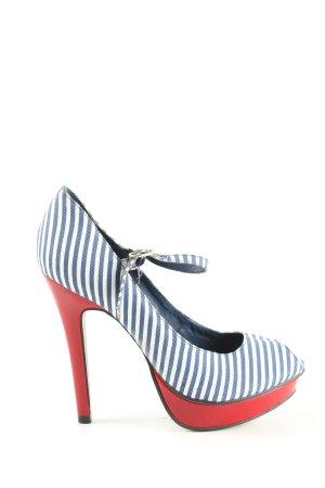 Buffalo London High Heels blau-weiß Streifenmuster Casual-Look