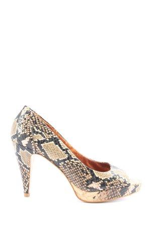 Buffalo London High Heels creme-schwarz Animalmuster Casual-Look