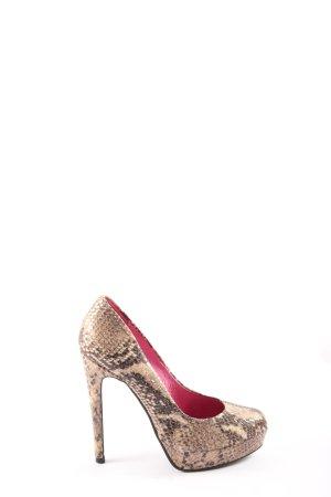 Buffalo London High Heels nude-braun Allover-Druck extravaganter Stil