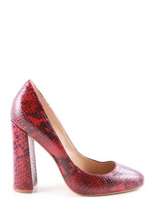 Buffalo London High Heels rot-schwarz Allover-Druck Elegant