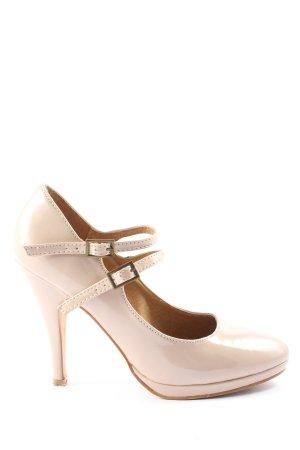 Buffalo London Chaussure à talons carrés crème élégant