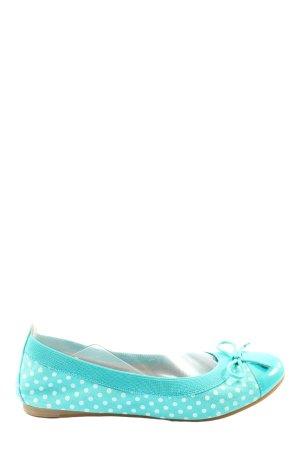 Buffalo London Ballerines classiques turquoise-blanc cassé motif de tache