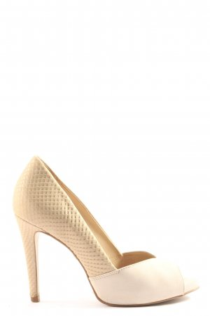 Buffalo London Peeptoe Pumps creme-wollweiß Elegant