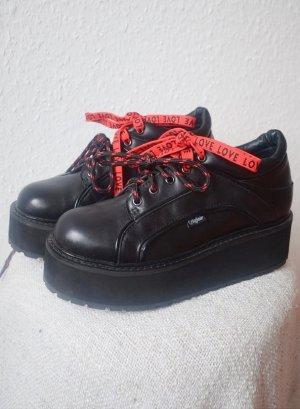 Buffalo London Baskets semelle plateforme  noir cuir