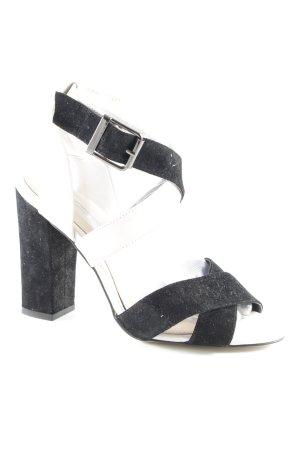 Buffalo London Riemchen-Sandaletten schwarz-hellbeige Lederelemente