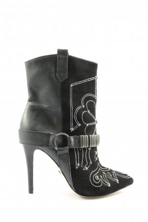 Buffalo London Schlüpf-Stiefeletten schwarz-weiß Motivdruck Casual-Look
