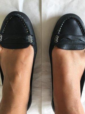 Buffalo London Ballerines pliables noir-blanc cuir