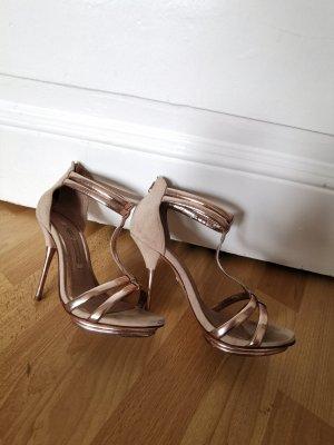 Buffalo London Stilettos Sandaletten High Heels altrosa/rosegold Leder Gr. 37