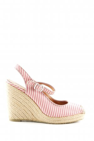 Buffalo London Wedges Sandaletten pink-weiß Streifenmuster Casual-Look