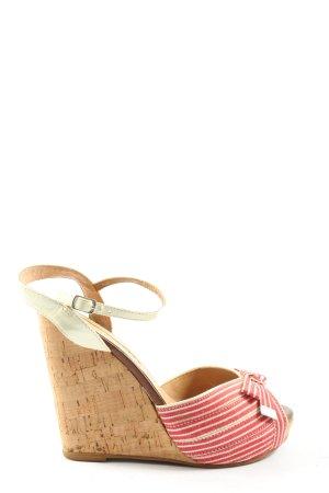Buffalo London Wedges Sandaletten rot-wollweiß Streifenmuster Casual-Look