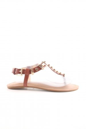 Buffalo London Sandalo toe-post marrone-oro stile casual